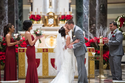 First kiss at Cathedral Basilica of Saints Peter and Paul