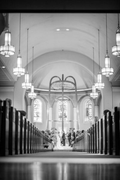Black and white church ceremony Philadelphia PA