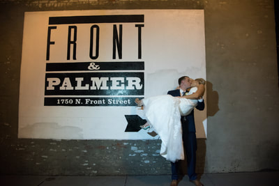 Front and Palmer Philadelphia wedding night portrait
