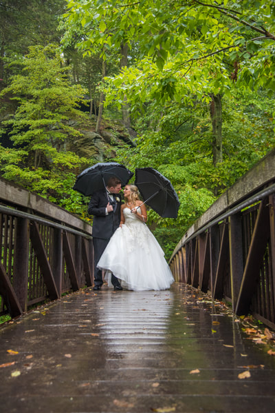 October rainy wedding portrait