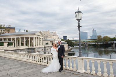 Wedding portrait Water Works Philadelphia PA