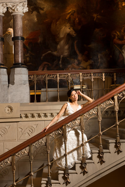 Dramatic bridal portrait on grand stairs