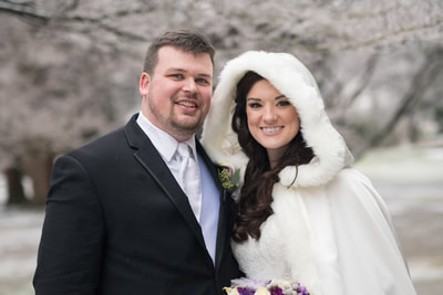 Bensalem, PA winter wedding portrait in snow
