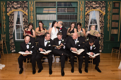 Bridal party reading books Bucks County PA