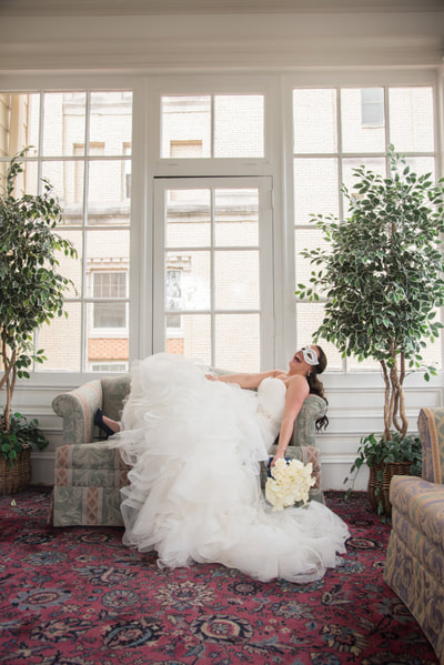 Collingswood Ballroom NJ sun room bridal portrait