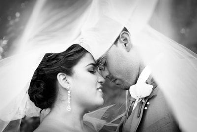Bride and groom under veil portrait