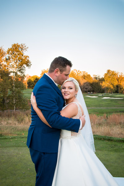 Philmont Country Club wedding on golf course at sunset