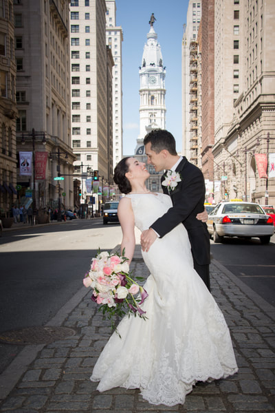 Broad Street center city Philadelphia wedding portrait
